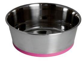 Rogz Stainless Steel Slurp Dog Bowl Small - 650ml Pink Base