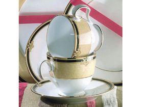 Noritake Braidwood Demitasse Cup & Saucer - White & Gold with Black Detail