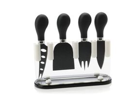 Maxwell & Williams Slice & Dice Cheese Knife Block Set Gift Boxed - Black & White