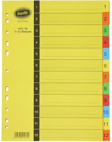 Bantex Manilla Board A4 1-12 Index - 5 Colour (1-12 Division)