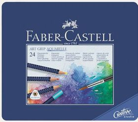 Faber-Castell Art Grip Aquarelle Watercolour Pencils - Tin of 24