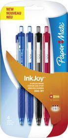 Paper Mate Inkjoy 300 Retractable Ballpoint Pens (Carded 4's)