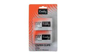 Croxley Silver Paper Clips - 30mm (Card of 2x Box of 100)