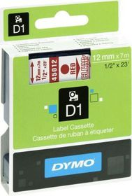 Dymo D1 Tape Cassette - Red Print on Clear Tape (12mm x 7m)