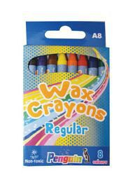 Penguin A8 Wax Crayons - (Box of 8)