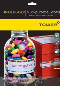 Tower W233 Multi Purpose Inkjet-Laser Labels - Pack of 25 Sheets