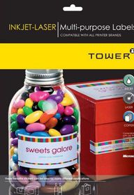 Tower W106 Multi Purpose Inkjet-Laser Labels - Box of 100 Sheets