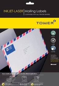 Tower W113 Mailing Inkjet-Laser Labels - Box of 100 Sheets