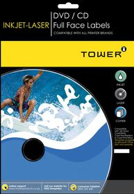 Tower W250 Full Face CD Inkjet-Laser Labels - Box of 100 Sheets