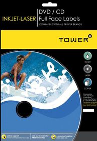 Tower W251 Mini CD Inkjet-Laser Labels - Box of 100 Sheets