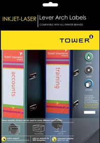 Tower W330 Lever Arch Inkjet-Laser Labels - Box of 100 Sheets