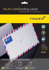 Tower W100 Mailing Inkjet-Laser Labels - Box of 1000 Sheets
