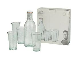 Jamie Oliver Recycled Glass Water Bottle & 4 Glasses