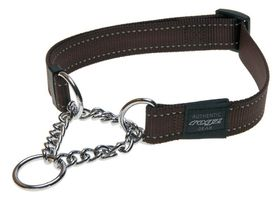Rogz - Utility Lumberjack Obedience Half-Check Dog Collar - Extra-Large 2.5cm - Chocolate Reflective