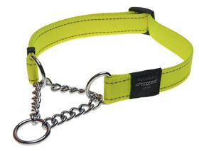 Rogz Utility Snake Obedience Half-Check Dog Collar Medium - 16mm Yellow Reflective