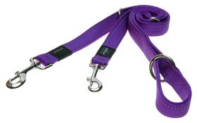 Rogz - Utility Snake Multi-Purpose Dog Lead - Medium 1.6cm - Purple Reflective
