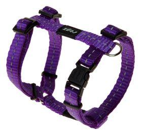 Rogz Utility Nitelife Dog H-Harness Small - 11mm Purple Reflective