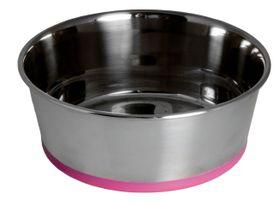Rogz Stainless Steel Slurp Dog Bowl Large - 1700ml Pink Base