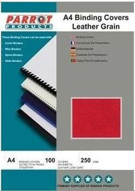 Parrot A4 Leather Grain 250gsm Binding Covers 100s - Red