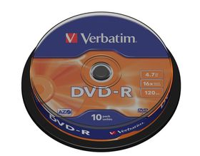Verbatim 4.7GB DVD-R (16x) Matt Silver Spindle - Box of 10