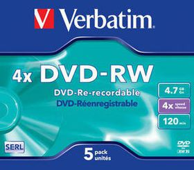 Verbatim DVD-RW Matt Silver 4X 4.7GB - Jewel Case (5 Pack)
