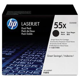 HP 55X 2-pack High Yield Black Original LaserJet Toner Cartridges with Smart Printing Technology