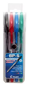 Pilot BP-S Medium Ballpoint Pens - Wallet of 4 Colours