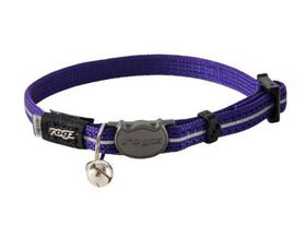 Rogz - Catz Extra-Small AlleyCat Reflective Breakaway Safeloc Buckle Cat Collar - Purple