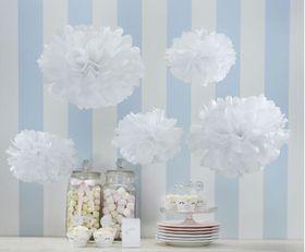 Ginger Ray Tissue Paper Pom Poms - White