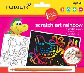 Tower Kids Scratch Art Rainbow - Dinosaur 1