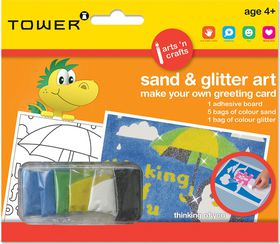 Tower Kids Sand & Glitter Art Greeting Card - Thinking Of You