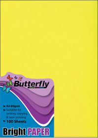 Butterfly A4 Bright Paper 100s - Yellow