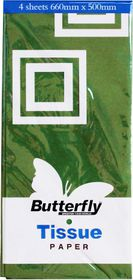 Butterfly Tissue Paper 4 Sheets - Green (T26)