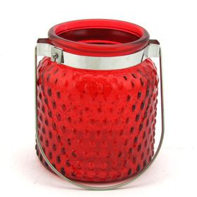 Pamper Hamper - Bubbled Glass Candle Holder - Red