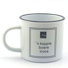 Pamper Hamper 'n Koppie Boere Troos Mug - Black & White