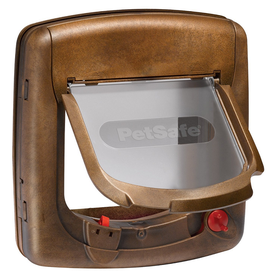 Staywell - Magnetic 4 Way Locking Deluxe Cat Flap 400 Series - Woodgrain - (25.2cmx 24.1cm)