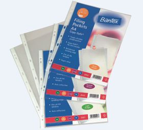 Bantex 'Copy-Safe' Multi-Punched A4 P.P Filing Pockets - 120micron (100 p/p)