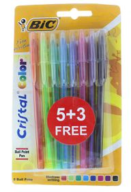 BIC Cristal Color Medium Ballpoint Pens - Assorted (Blister 5+3)