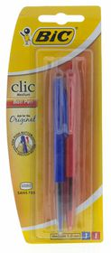 BIC Clic Medium Ballpoint Pen - Blue & Red (Blister of 2)