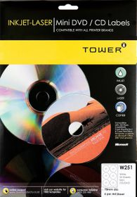 Tower W251 Inkjet-Laser Mini DVD/CD Labels - Pack of 25 Sheets