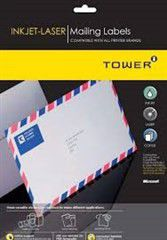 Tower W109 Mailing Inkjet-Laser Labels - Box of 100 Sheets