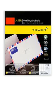 Tower C110 A4 Laser Mailing Labels (Fluo Red) - Box of 100 Sheets