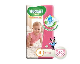 Huggies - Gold Girl Size 4 x 60 Nappies (8-14KG)