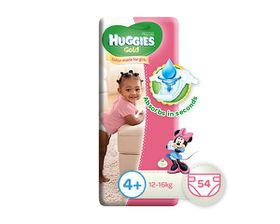 Huggies - Gold Girl Size 4+ x 54 Nappies (10-16KG)