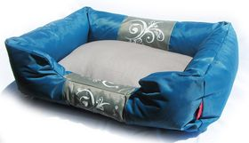 Dog's Life - Waterproof Modern Swirl Summer Bed - Blue - Small