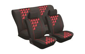 Stingray - Domino 8 Piece Full Car Seat Cover Set - Red and Black