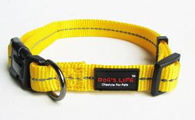 Dog's Life - Reflective Supersoft Webbing Collar Yellow - Small