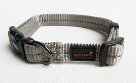 Dog's Life - Reflective Supersoft Webbing Collar - Grey - Medium