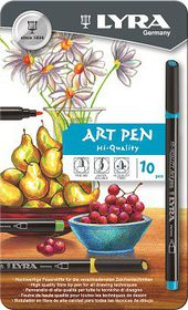 Lyra Art Pens - 10 Colours in Metal Box