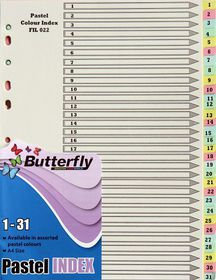 Butterfly A4 31 Tab (1-31) Pastel Board File Dividers